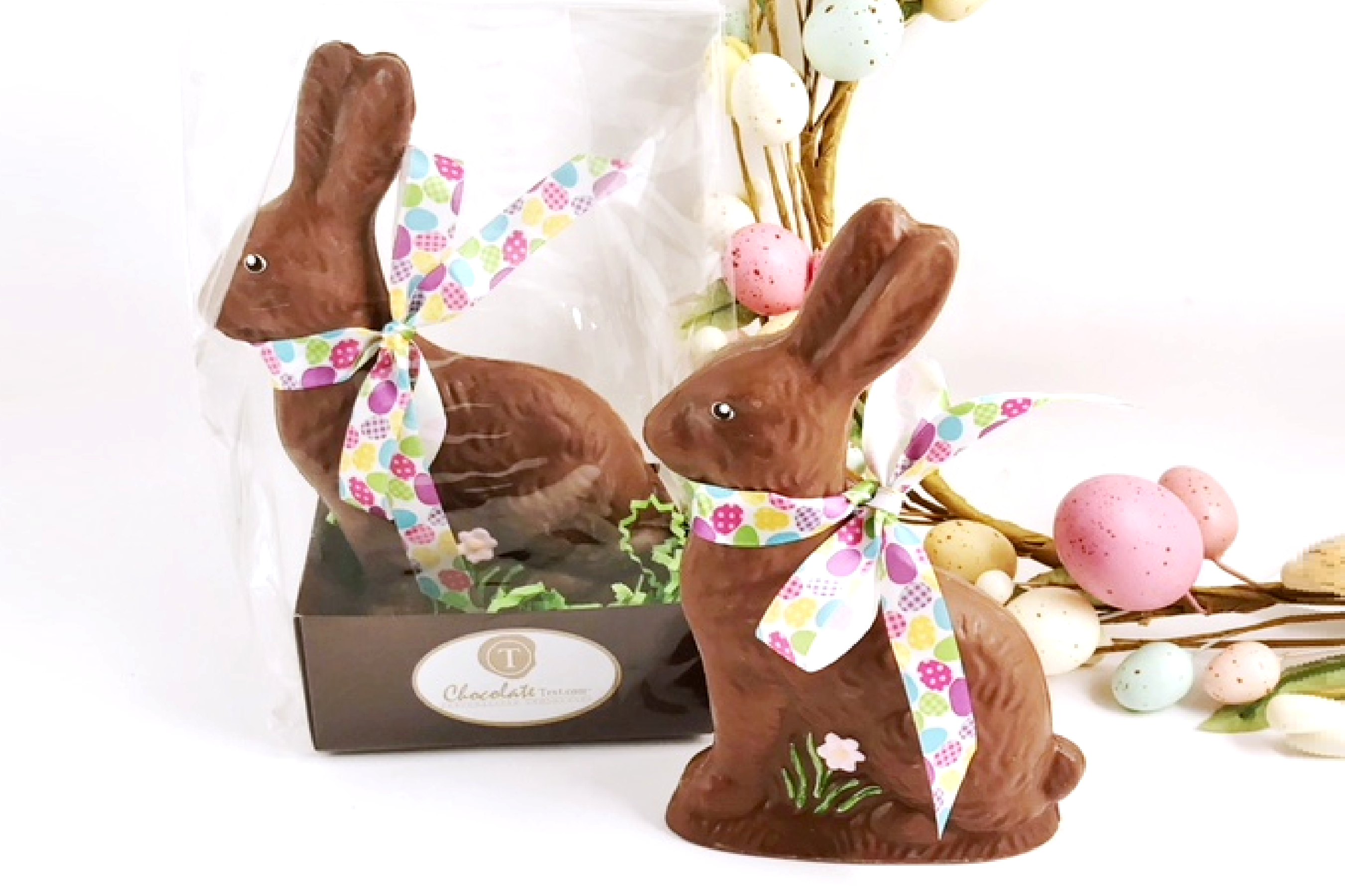 Chocolate Text - <b>Easter Bunnies </b>- SOLID Milk hand painted individual bagged, set of 2 pcs each