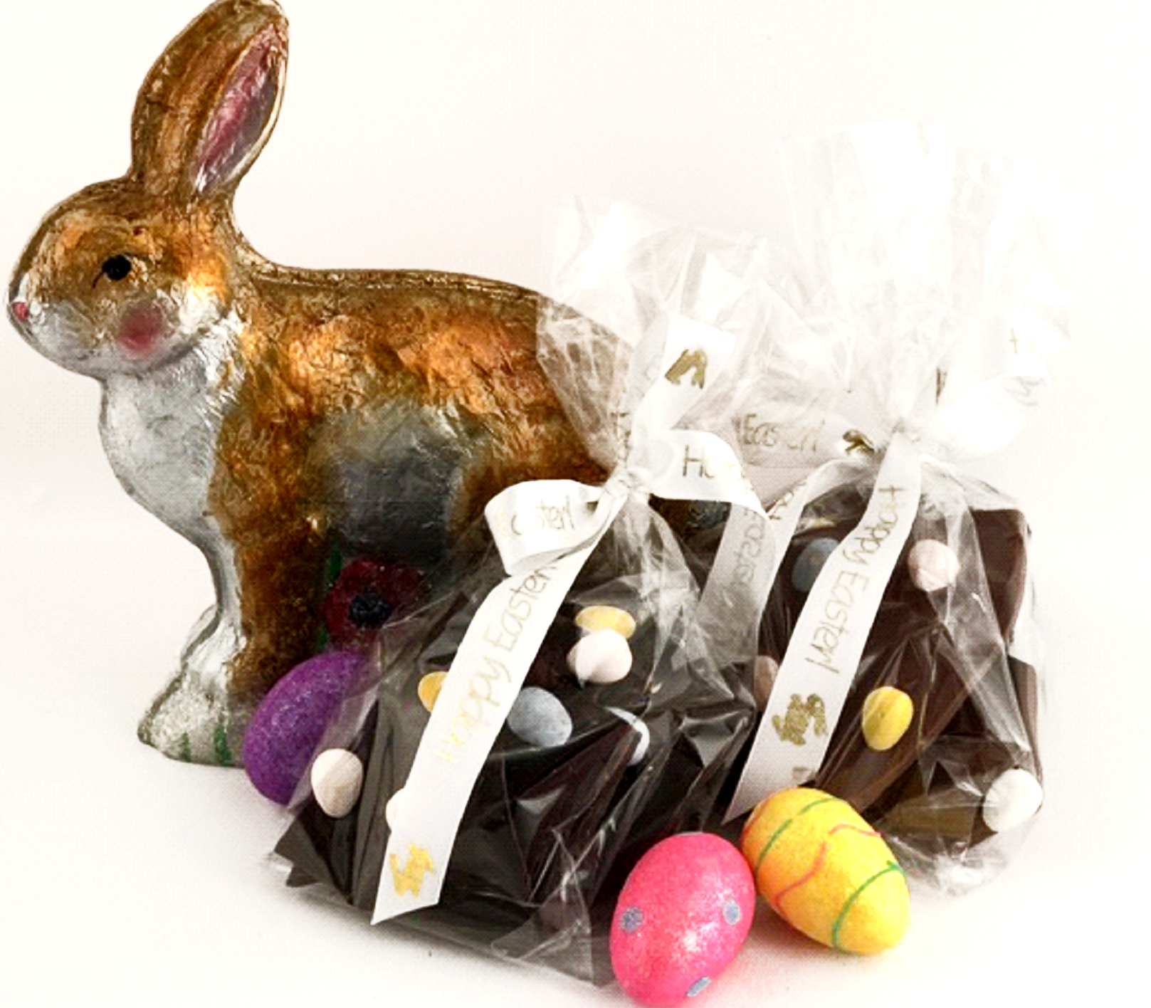Chocolate Text - Easter Chocolate Bark - with Easter Eggs - set of 2 bags [1/2 lb ea]