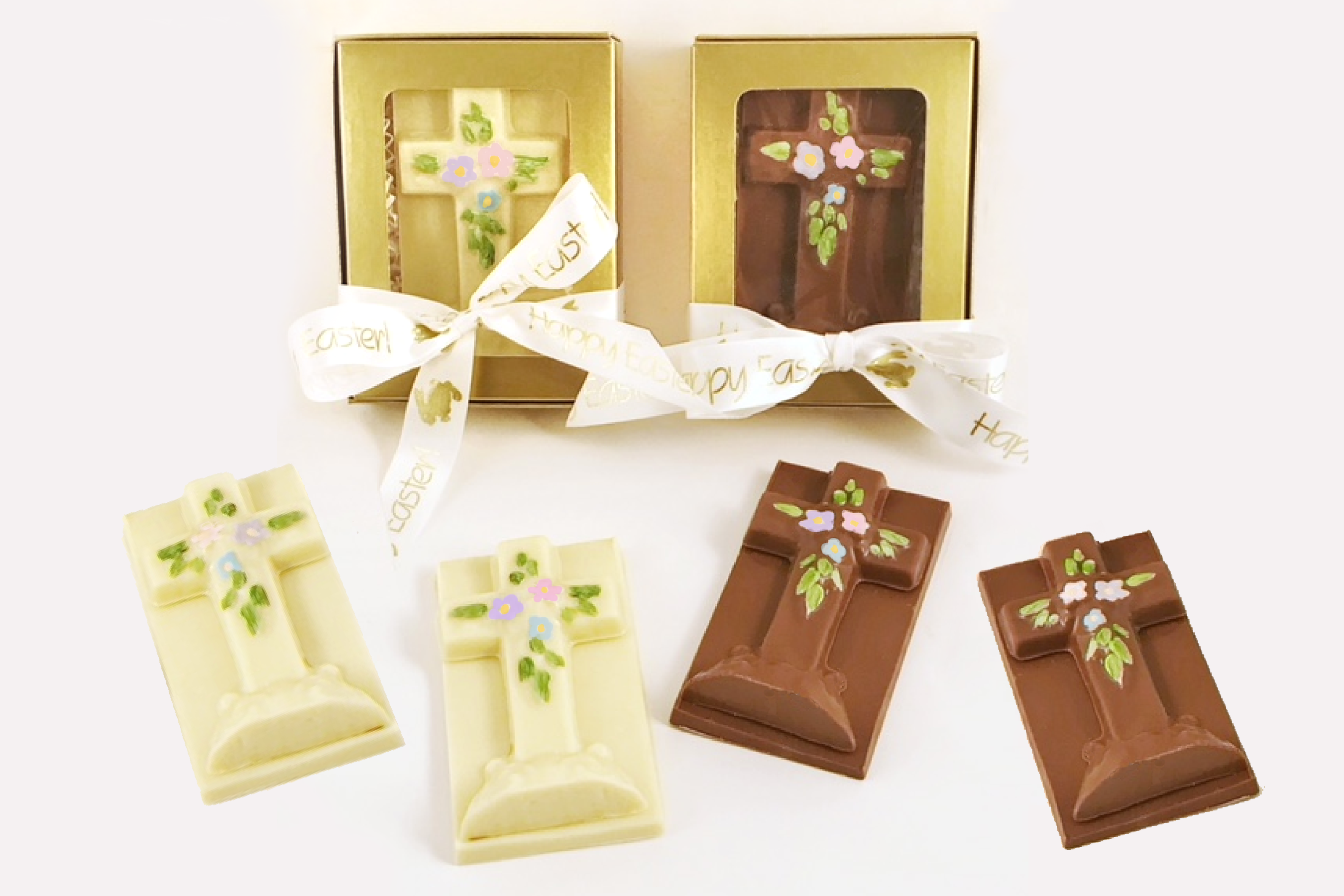 Chocolate Text - <b>Easter Crosses</b> - SOLID Milk and White Crosses, set of 2 pcs each