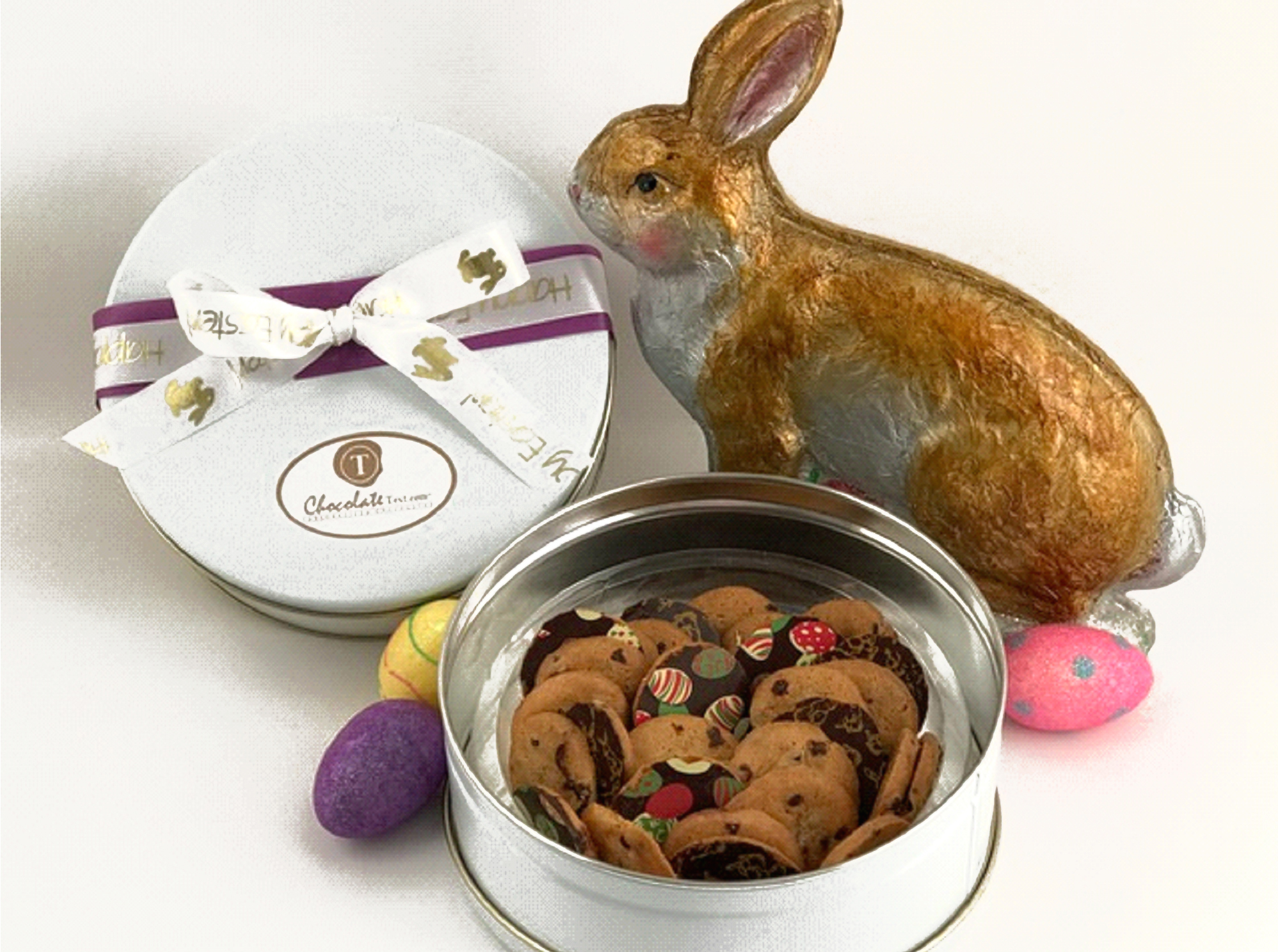 Chocolate Text - Easter Cookies - Chocolate chip cookies, chocolate coated with Easter designs, 32 pcs. in a large gift tin finished with Easter Ribbon