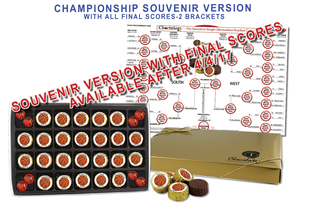 Chocolate Text - <strong>CHAMPIONSHIP W/ Final Scores</strong>   - Choctology™ - Bracket Game- Souvenir Version