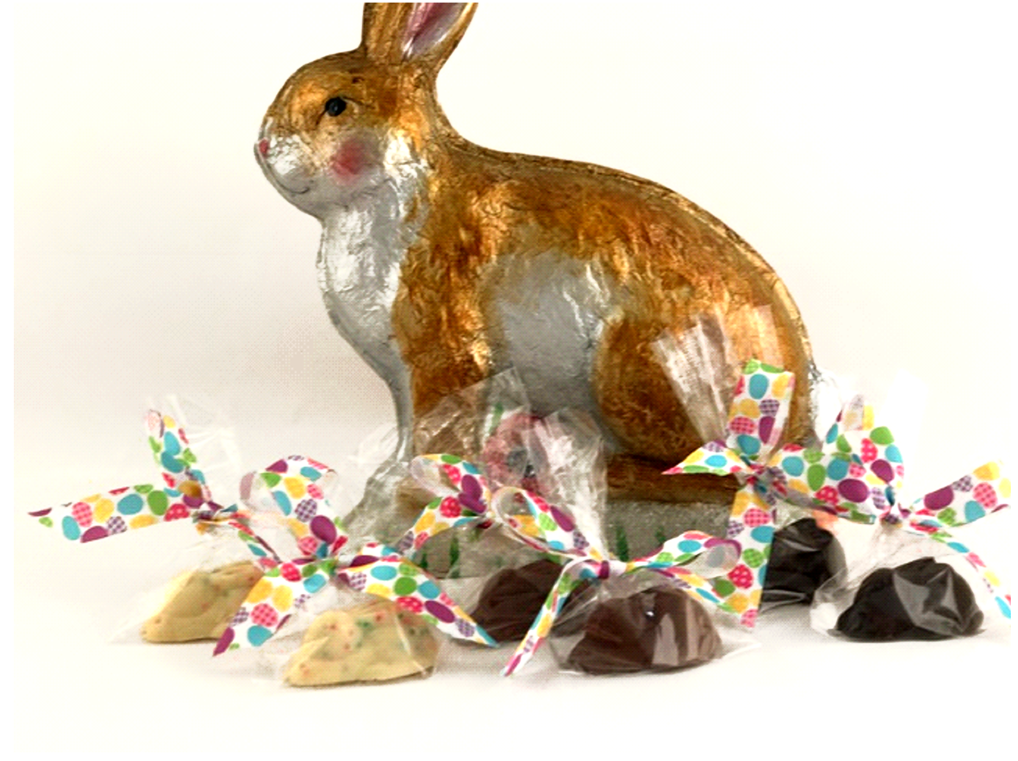 Chocolate Text - Easter Bunnies - Milk, Dark and White with Non parils individual bagged, set of 12 pcs each