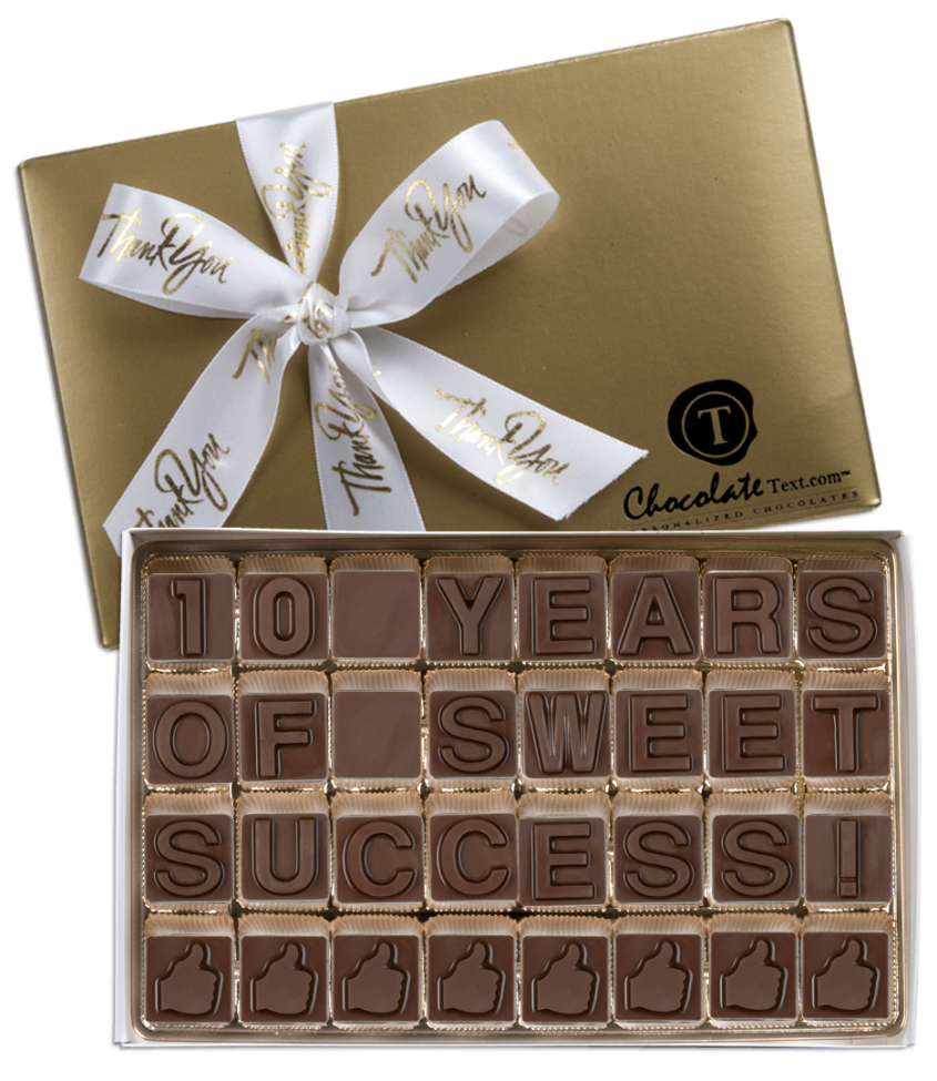 Chocolate Text - 10-Years-of-Sweet-Success!-with imprinted ribbon