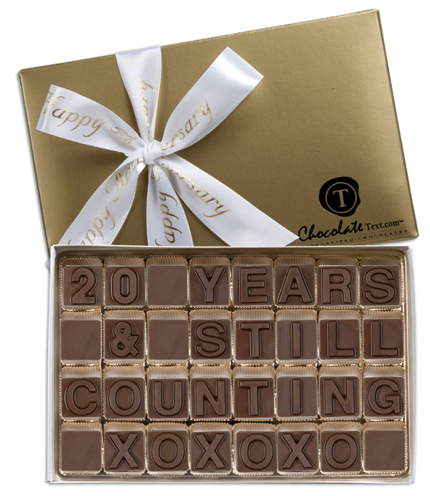 Chocolate Text - 20 Years & Still Counting-with imprinted ribbon