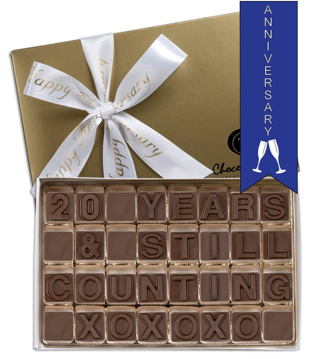 Chocolate Text - 20 Years & Still Counting-with imprinted ribbon - Military