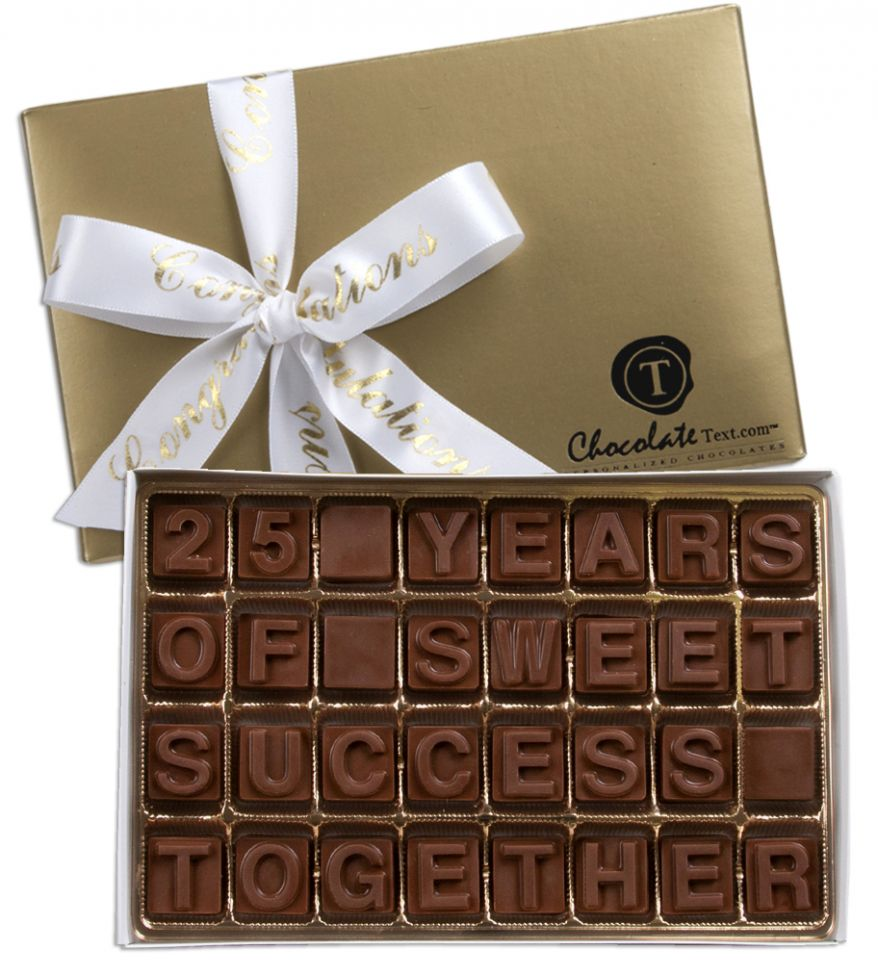 Chocolate Text - 25 Years Of Sweet Sucess Together-with Congratulations imprinted ribbon
