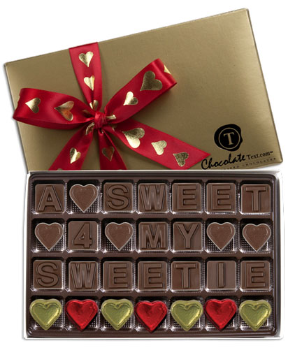 Chocolate Text - A Sweet 4 My Sweetie-with imprinted ribbon & colored hearts