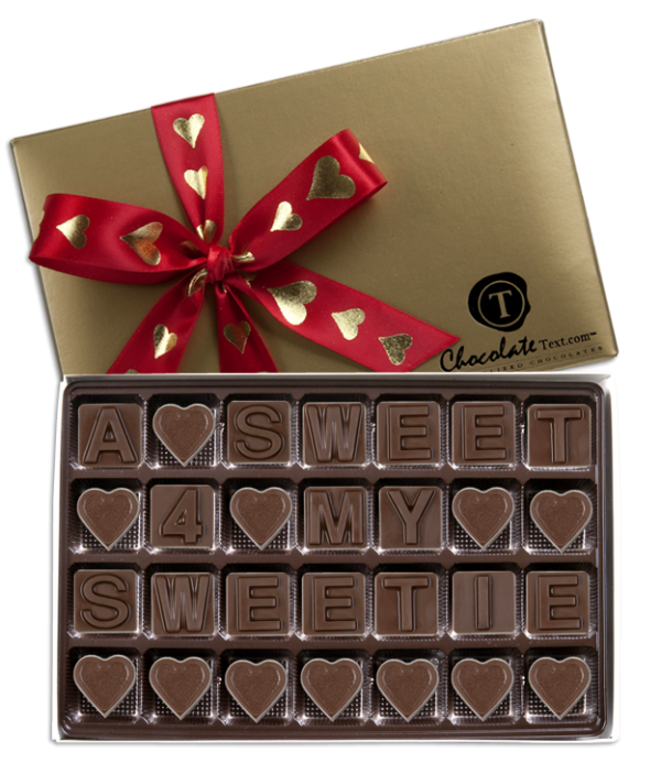 Chocolate Text - A Sweet 4 My Sweetie-with imprinted ribbon