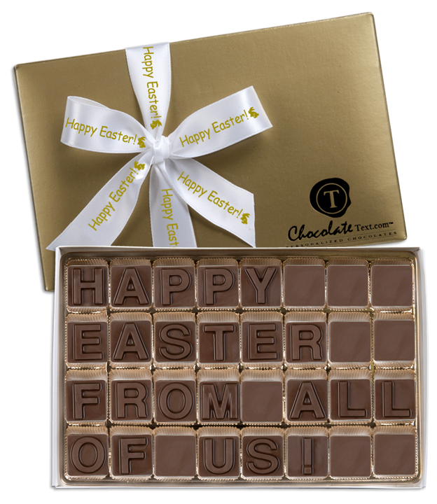Chocolate Text - Happy Easter From All Of Us [All-Chocolate]-with imprinted ribbon