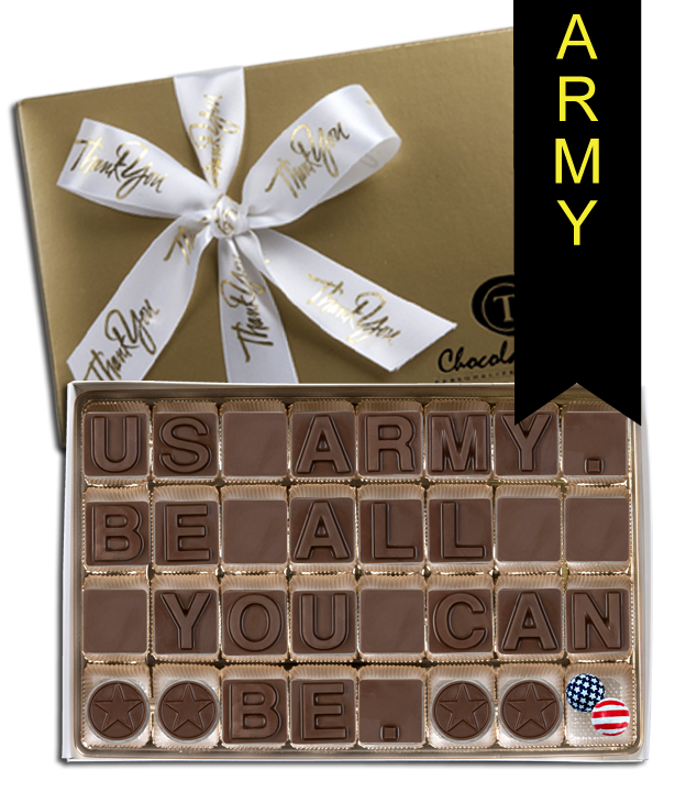 Chocolate Text - Army - Be All You Can Be with Thank You Ribbon