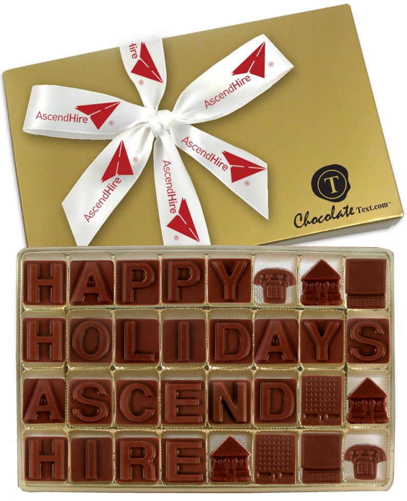 Chocolate Text - Happy Holidays Ascend Hire-with imprinted ribbon [min. apply]