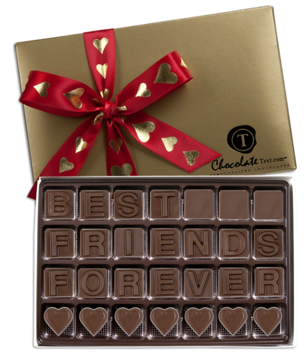 Chocolate Text - Best Friends Forever-with imprinted ribbon