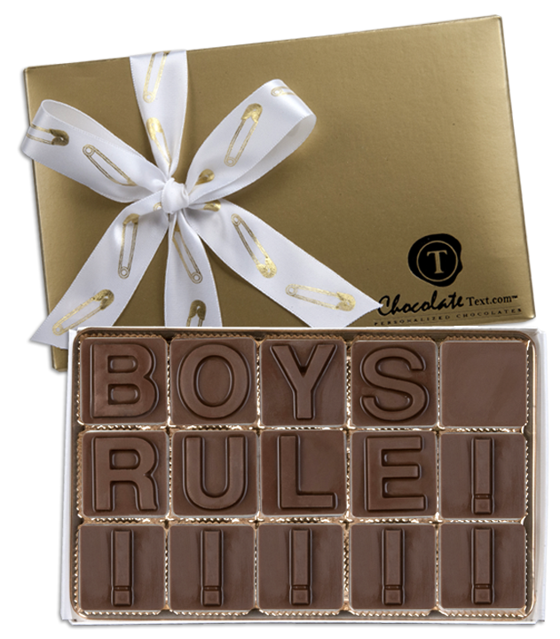 Chocolate Text - Boys Rule!-with imprinted ribbon