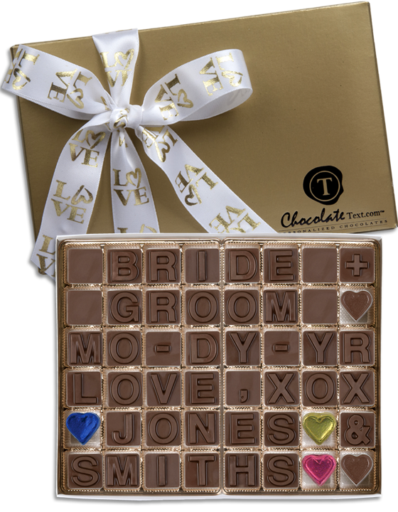 Chocolate Text - Bride & Groom Template #2- Customizable By Couple [add names & date] -with imprinted ribbon