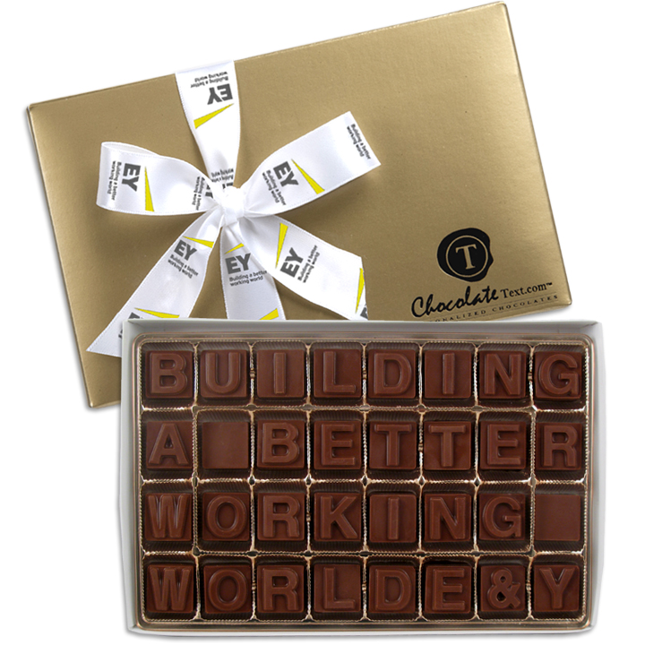 Chocolate Text - Building A Better Working World E&Y-with imprinted ribbon [min. apply]
