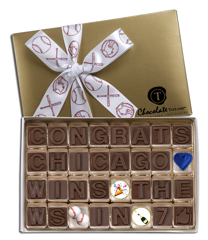 Chocolate Text - Baseball: Chicago Wins '16 World Series -with chocolate baseballs, emojis and imprinted ribbon