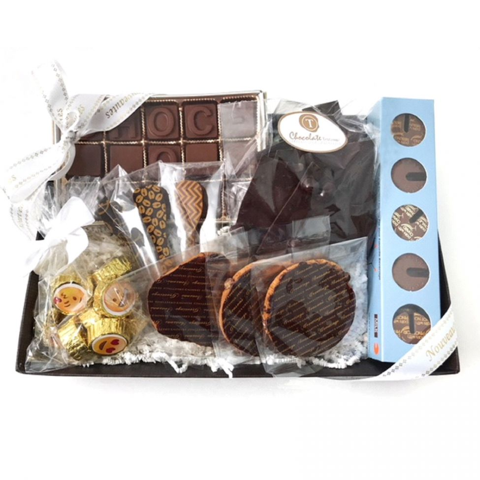 Chocolate Text - Chocoholic Gift Tray-with imprinted ribbon