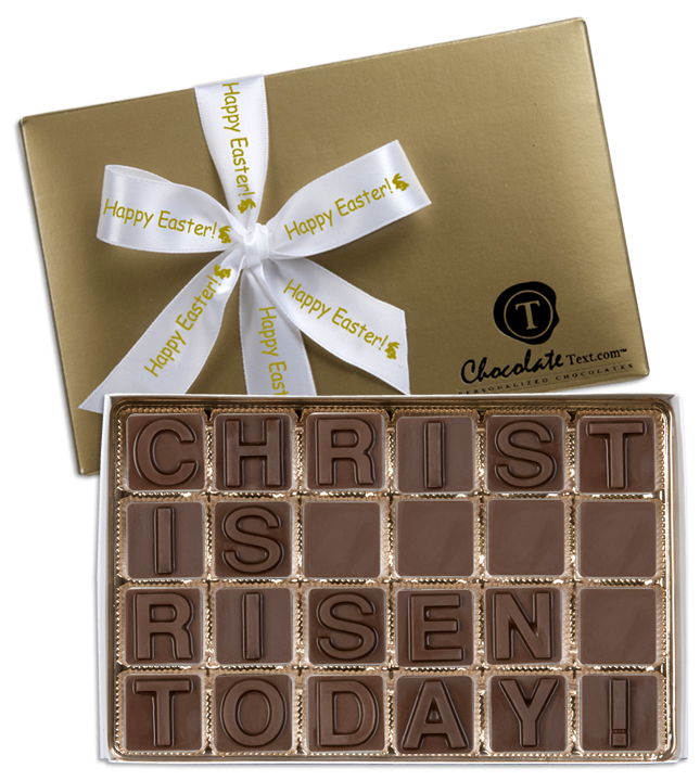Chocolate Text - Christ Is Risen Today!-with imprinted ribbon