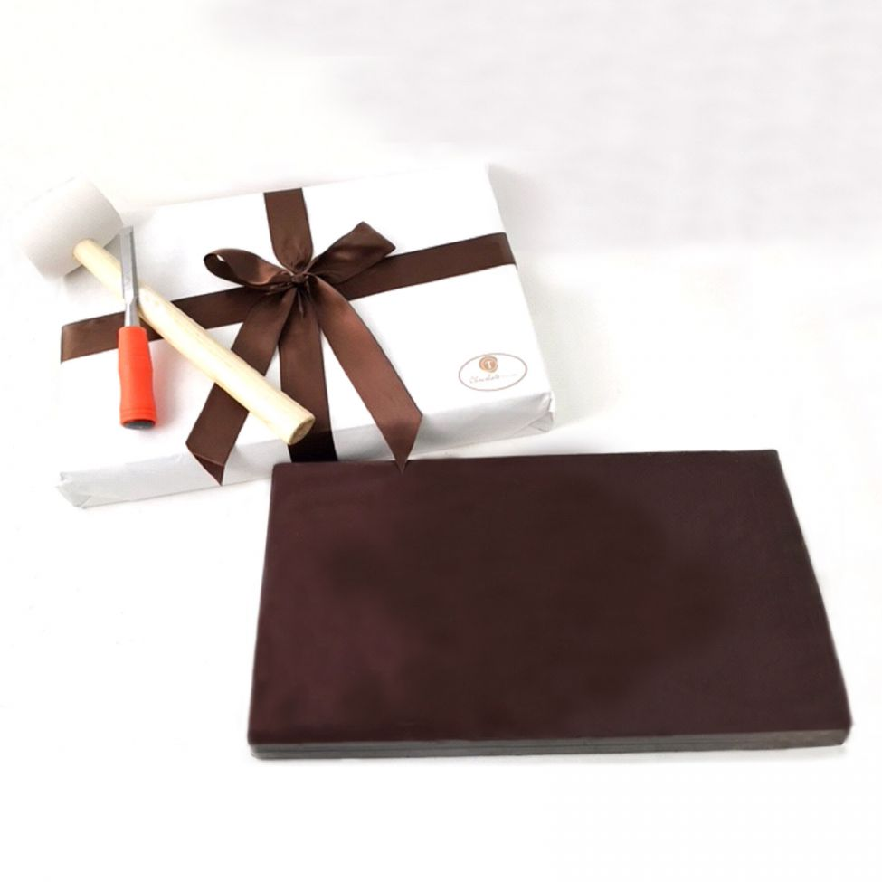 Chocolate Text - Colossal Solid 15 pound Premium Belgium Dark chocolate bar - with ribbon and bow