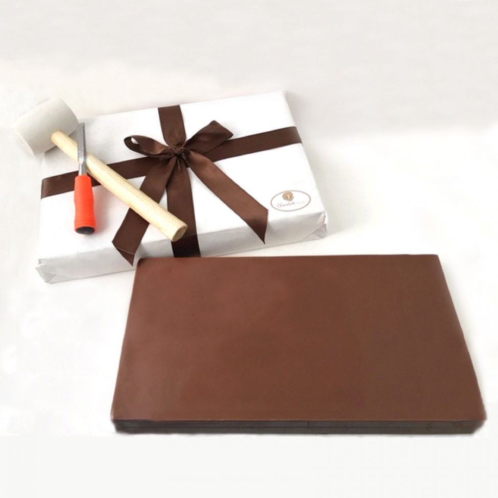 Chocolate Text - Colossal Solid 15 pound Premium Belgium Milk chocolate bar - with ribbon and bow