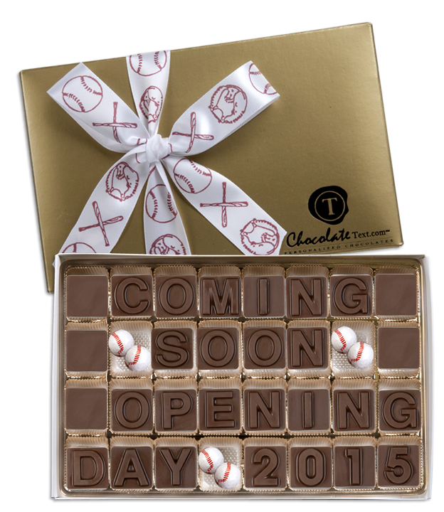 Chocolate Text - Baseball: Coming Soon Opening Day 2016-with chocolate baseballs and imprinted ribbon