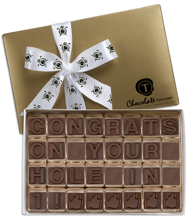 Chocolate Text - Hole in One Congratulations-with imprinted ribbon