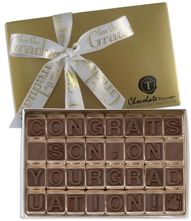 Chocolate Text - Congrats Son On Your Graduation-with imprinted ribbon