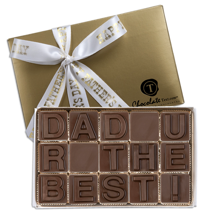 Chocolate Text - Dad U R The Best!-with imprinted ribbon