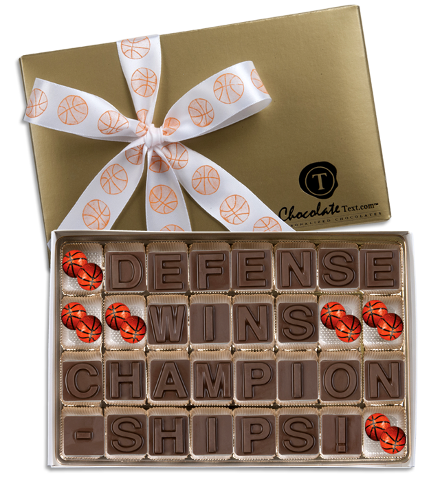 Chocolate Text - Defense Wins Championships!-with imprinted ribbon