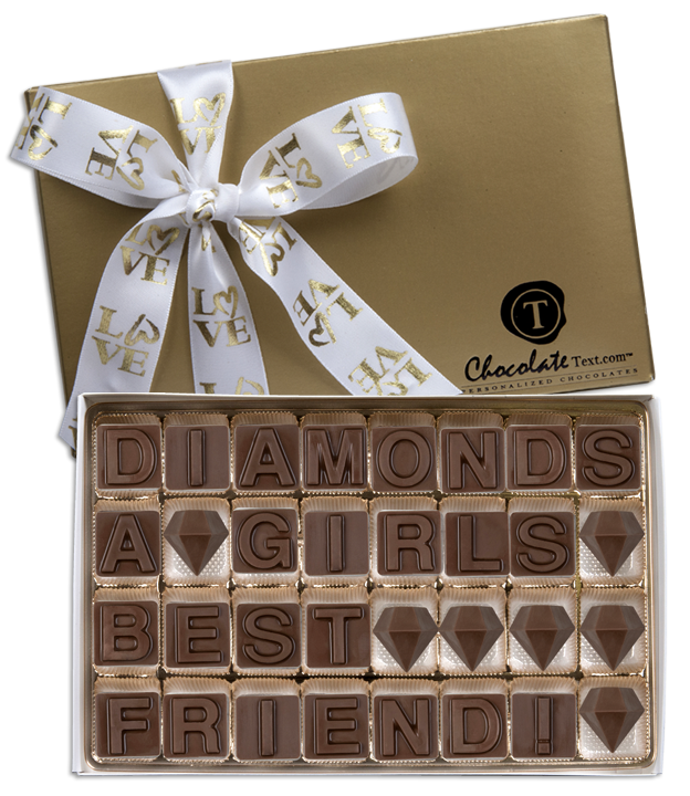 Chocolate Text - Diamonds Are A Girl's Best Friend-with imprinted ribbon
