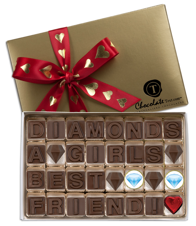 Chocolate Text - Diamonds A Girls Best Friend!-with foiled heart and emojis & imprinted ribbon