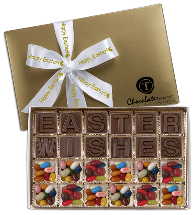 Chocolate Text - Easter Wishes-with Jelly Belly jelly beans & imprinted ribbon