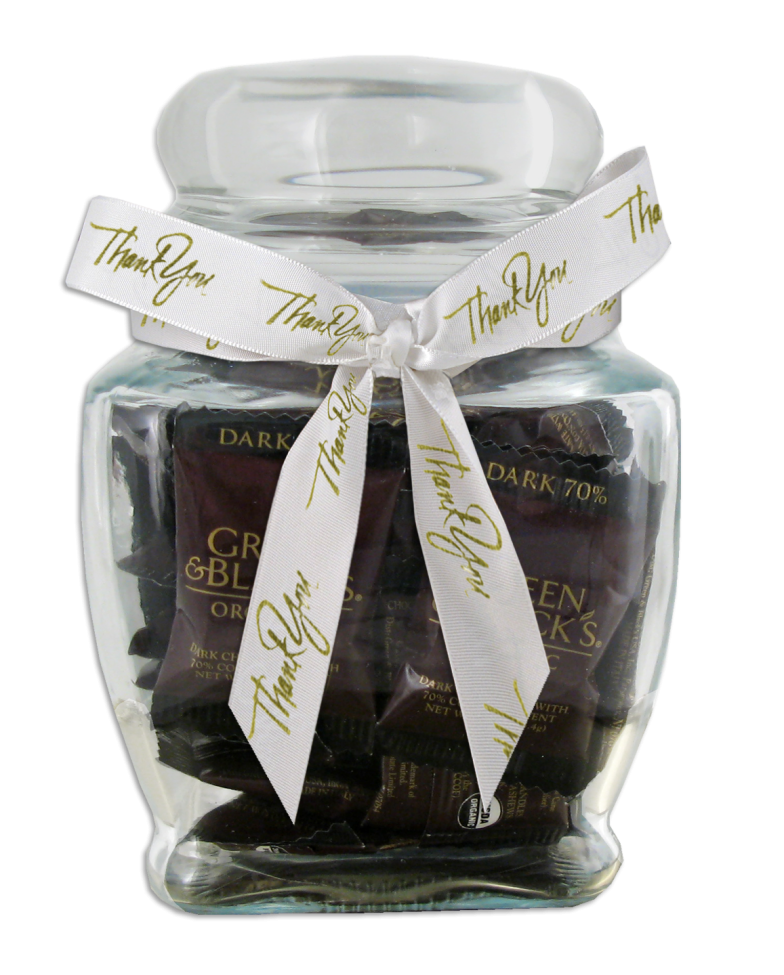 Chocolate Text - USA Made Glass Jar- Green & Black's Organic Dark Chocolates & imprinted ribbon