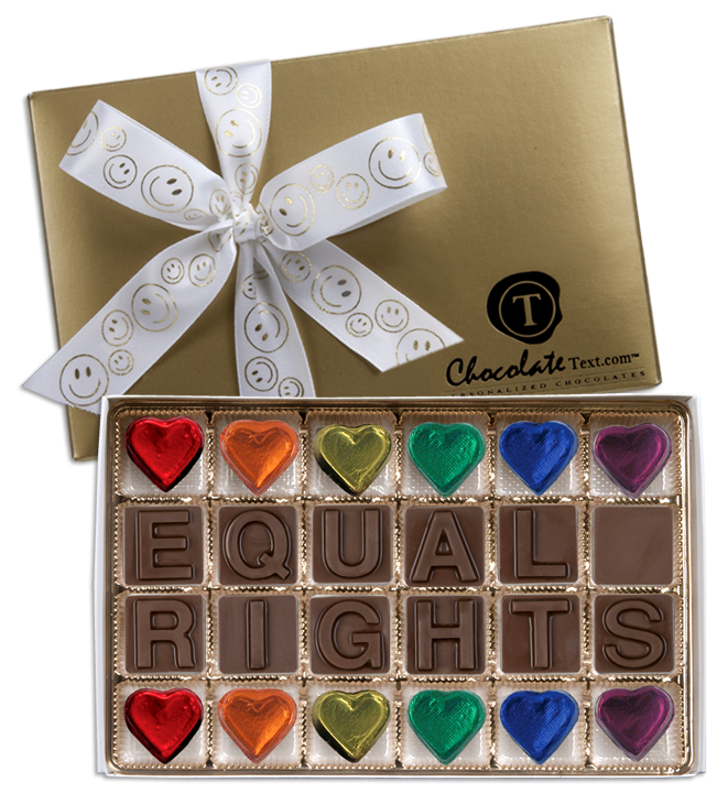 Chocolate Text - Equal-Rights-with imprinted SMILEY ribbon & foiled hearts