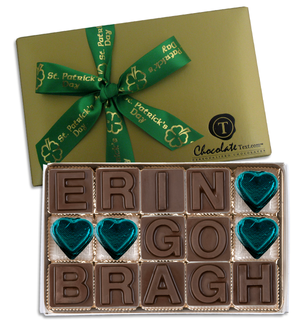 Chocolate Text - Erin-Go-Bragh-with imprinted ribbon