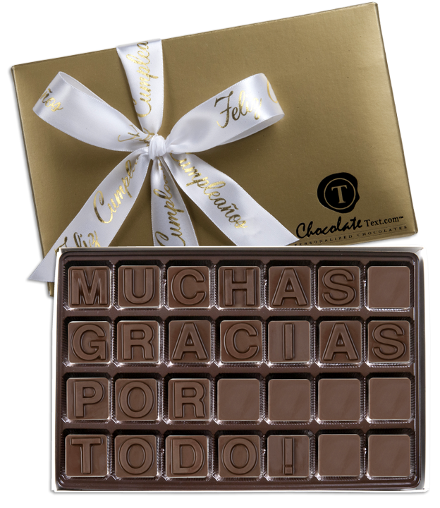 Chocolate Text - Feliz-Cumpleanos-with imprinted ribbon