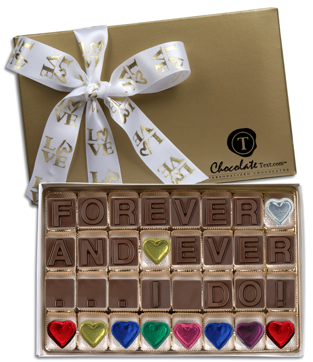 Chocolate Text - Forever And Ever I Do-with imprinted ribbon