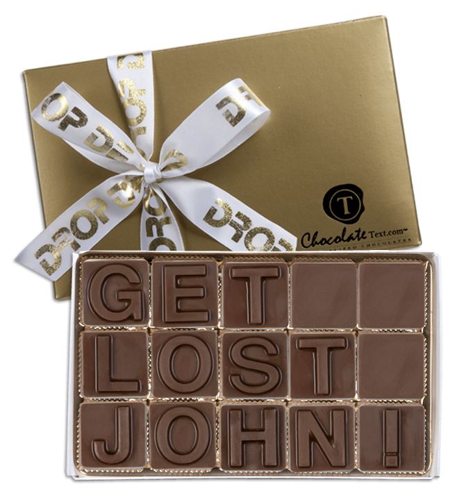 Chocolate Text - Get-Lost-John-with imprited ribbon