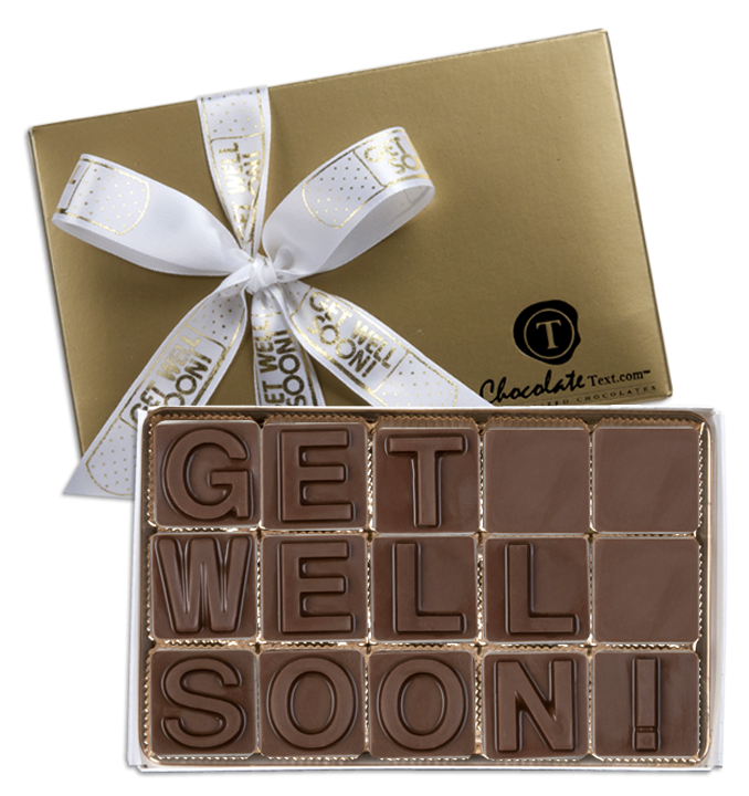 Chocolate Text - Get-Well-Soon!-with imprinted ribbon