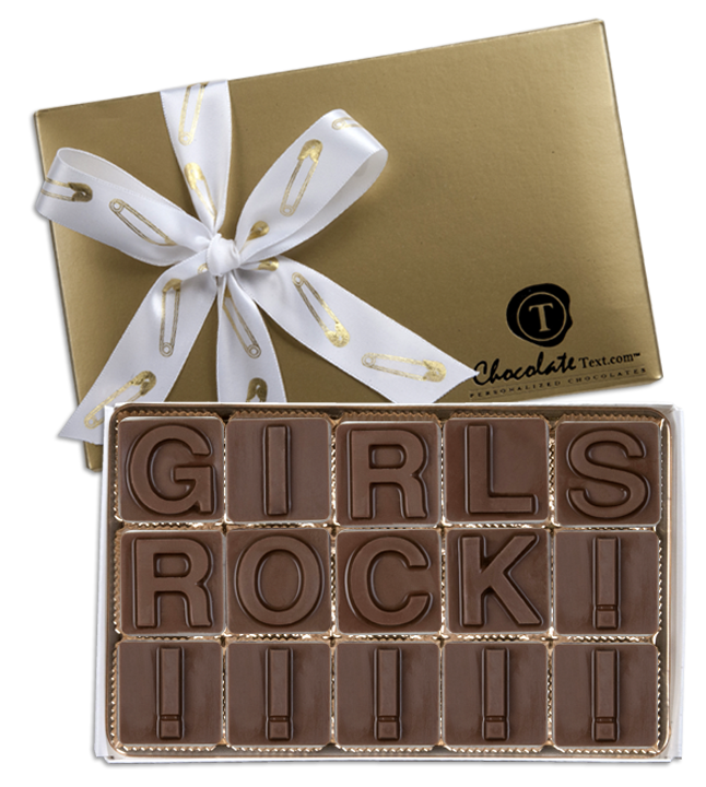 Chocolate Text - Girls Rule!-with imprinted ribbon