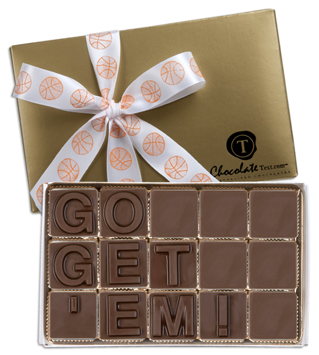 Chocolate Text - Go-Get-'em!-with imprinted ribbon