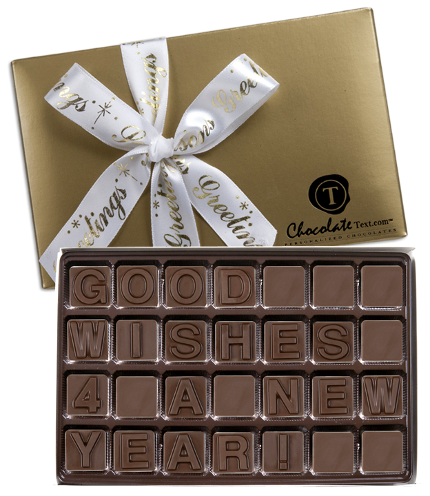Chocolate Text - Good Wishes For A New Year!-with imprinted ribbon