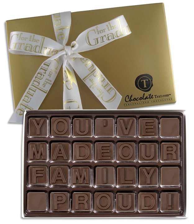 Chocolate Text - You've Made Our Family Proud!-with imprinted ribbbon