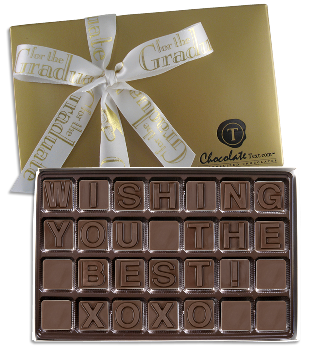 Chocolate Text - Wishing You The Best-with imprinted ribbbon