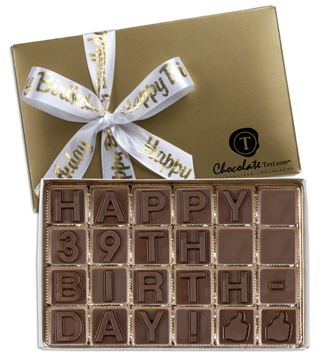Chocolate Text - Happy 39th Birthday!-with imprinted ribbon