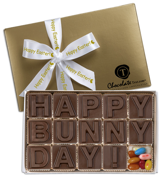 Chocolate Text - Happy Bunny Day!---with Jelly Belly jelly beans & imprinted ribbon