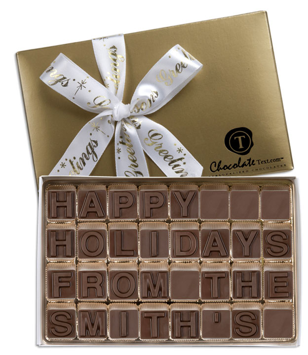 Chocolate Text - Happy Holidays From The [YOUR NAME HERE]-with imprinted ribbon