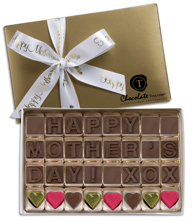 Chocolate Text - Happy Mother's Day including foiled hearts - with imprinted ribbon