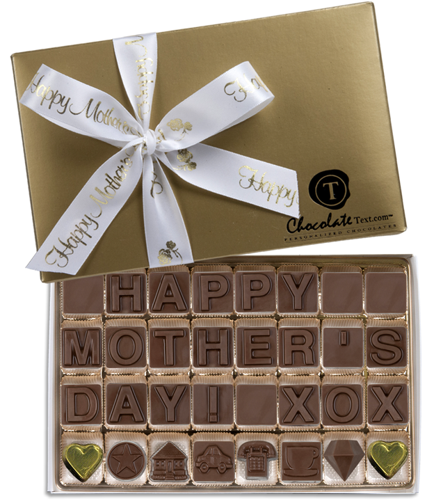 Chocolate Text - Happy Mother's Day-with imprinted ribbon