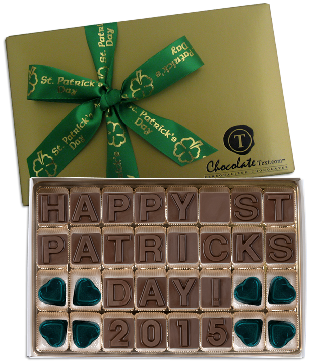 Chocolate Text - Happy St. Patrick's Day 2015-with imprinted ribbon & chocolate 4 leaf clover